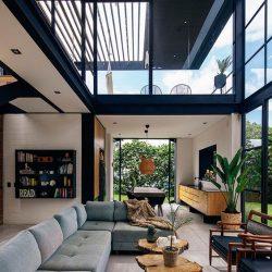 Sala minimalista com estrutura residencial metálico